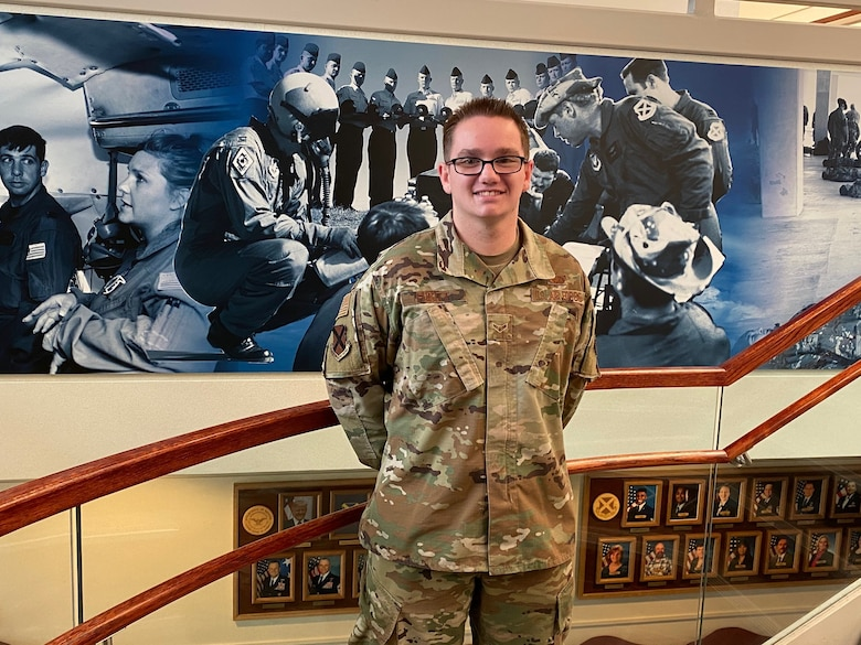 JOINT BASE SAN ANTONIO-LACKLAND, Texas -- His connection to a World War II hero isn't by blood, but it's a proud connection nonetheless to Airman 1st Class Hunter Fugitt.