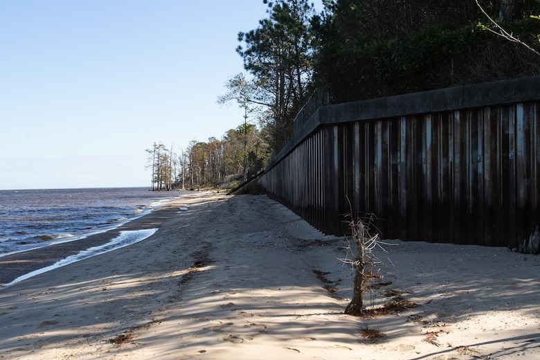 A seawall stands along the shores of Marine Corps Air Station Cherry Point, North Carolina, Nov. 5, 2020