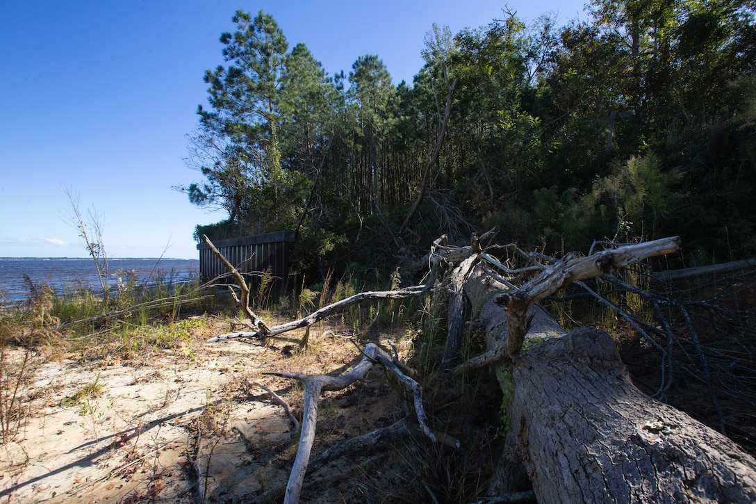 Damage from Hurricane Florence is pictured along the shores of Marine Corps Air Station Cherry Point, North Carolina, Nov. 5, 2020. Over 5000 linear feet of shoreline along the Neuse River was damaged during Hurricane Florence. (U.S. Marine Corps photo by Cpl. Alexandra Amor Santos Arambulo)