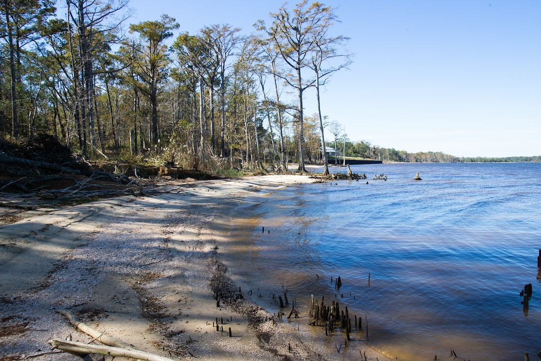 The water's current moves toward land in Marine Corps Air Station Cherry Point, North Carolina, Nov. 5, 2020. Records show the Neuse shoreline had suffered significant erosion, receding more than 20 feet, since the late 1990s