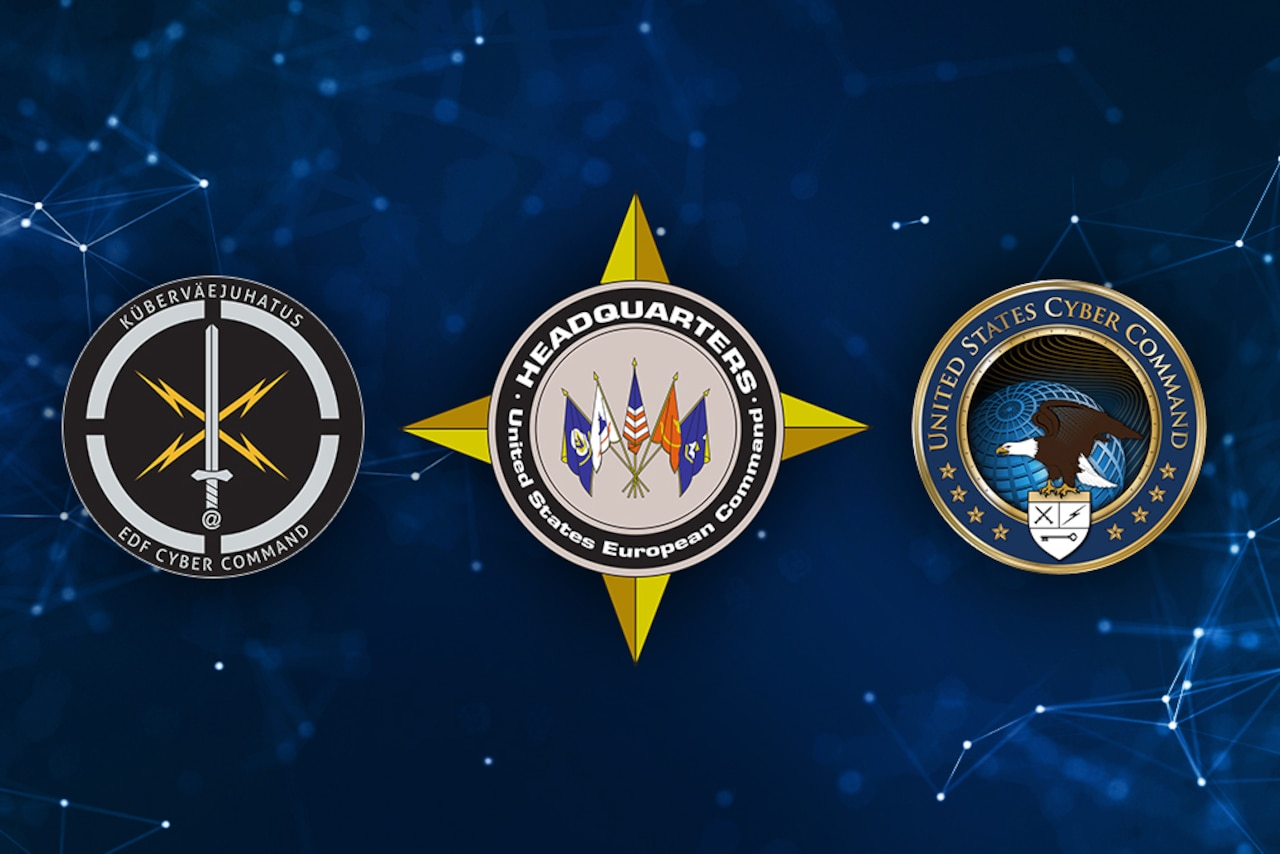 The logos of the Estonian Defense Forces' Cyber Command, U.S. European Command and U.S. Cyber Command.