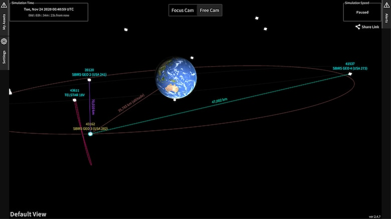 Space Cockpit is a situational awareness tool that allows satellite operators to visualize the satellites they control in a real-time, video game-like application. (U.S. Space Force graphic)