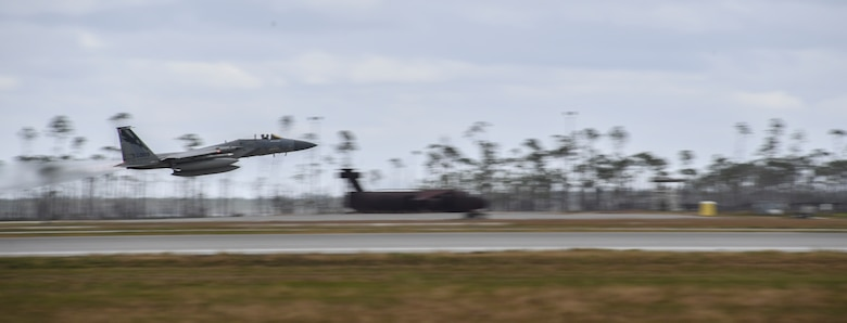 A U.S. Air Force F-15C Eagle fighter jet from the 194th Fighter Squadron, Fresno Air National Guard Base, California, takes off in support of exercise Checkered Flag, Tyndall Air Force Base, Florida, Nov. 10, 2020.