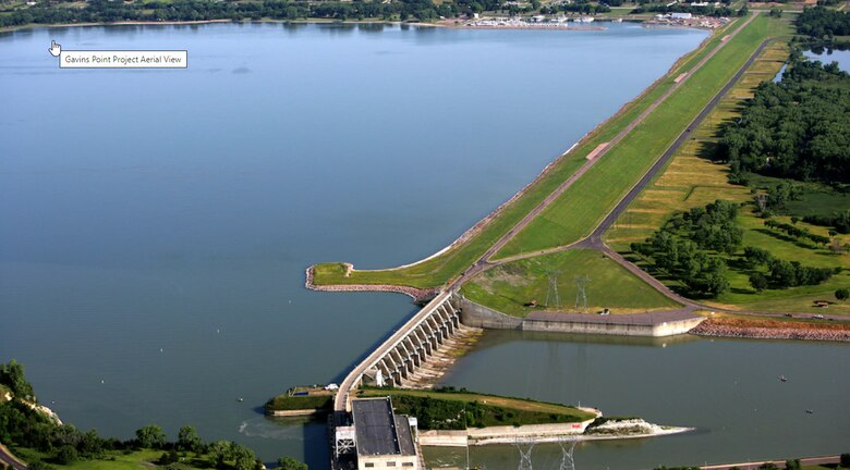 Aerial view of Aerial view of Gavins Point Dam and Lewis and Clark Lake.  and Lewis and Clark Lake.