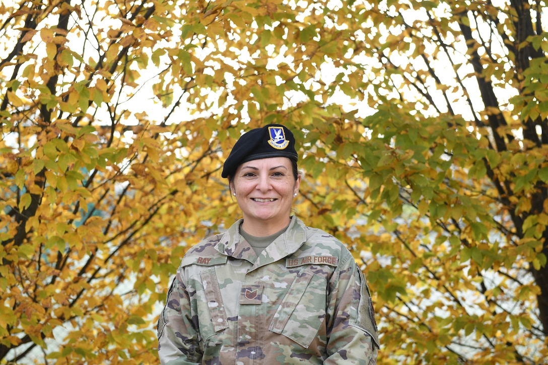 Tech. Sgt. Kristin Ray, 31st Security Forces Squadron unit deployment manager, poses for a photo at Aviano Air Base, Italy, Nov. 13, 2020. Ray recently completed a Native American history class which led her to ask her mother about more of her own personal history. Ray confirmed she is a sixth-generation direct descendent from Chief Black Kettle of the of the Southern Cheyenne Tribe and also a direct descendent of Chief Dull Knife from the Northern Cheyenne Tribe.