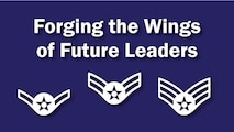 "Graphic with the words ""Forging the Wing of Future Leaders"" and includes stripes for Airman, Airman 1st Class and Senior Airman."