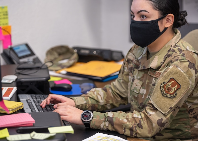 Airman Katiha Falcon, 649th Munitions Squadron, wears a smartwatch Dec. 3, 2020, at Hill Air Force Base, Utah. Airmen from 649th MUNS are wearing watches and rings for a study with the Defense Innovation Unit that will allow detection of illnesses such as COVID-19 within 48-hours.  (U.S. Air Force photo by Cynthia Griggs)