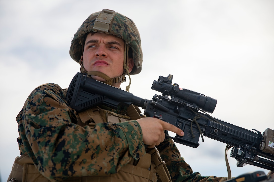 U.S. Marine Lance Cpl. Ryerson Rogers, a rifle Marine with 3rd Battalion 2nd Marine Regiment, 22nd Marine Expeditionary Unit, observes protestors outside of the Expeditionary Operations Training Group Building (EOTG) on Stone Bay aboard Camp Lejeune, N.C., Feb. 26, 2020. Instructors with EOTG organized the notional protest to train Marines with the 22nd MEU on embassy reinforcement operations and for an upcoming Special Purpose Marine Air-Ground Task Force. (U.S. Marine Corps photo by Cpl. Antonio Garcia)