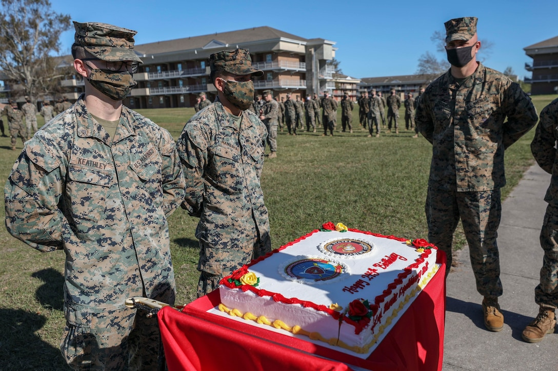 U.S. Marines with the 22nd Marine Expeditionary Unit participate in a ceremony commemorating the 245th Birthday of the United States Marine Corps aboard Camp Lejeune, N.C., Nov. 20, 2020. (U.S. Marine Corps photos by Cpl. Tawanya Norwood)