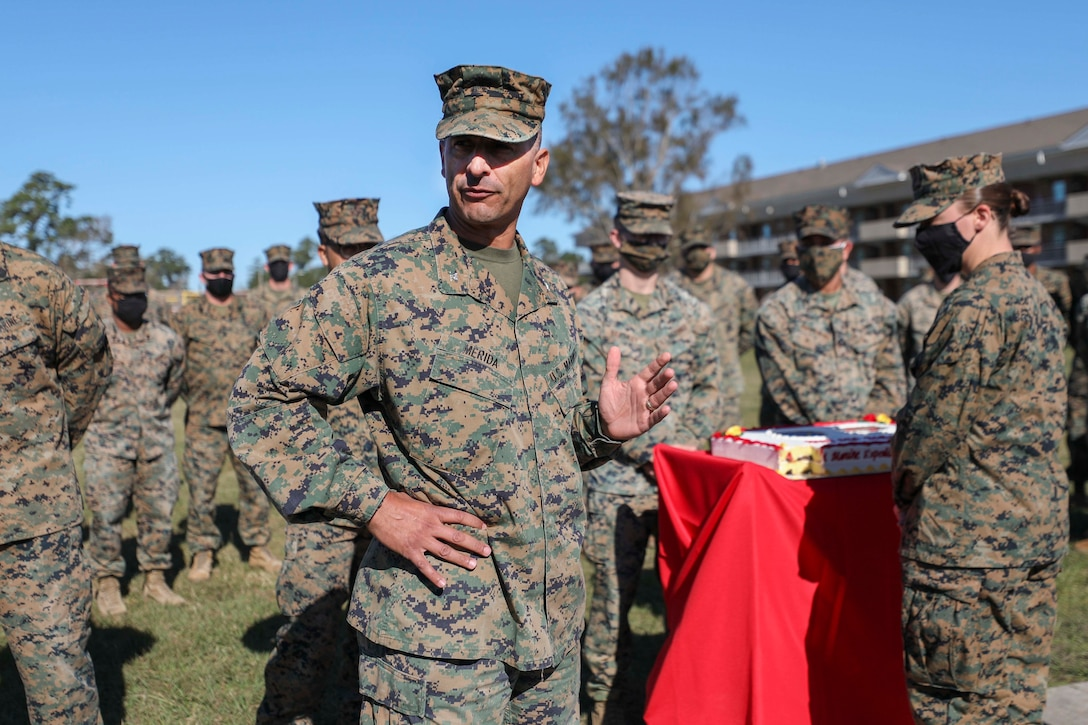 U.S. Marines and Sailors with the 22nd Marine Expeditionary Unit commemorate the 245th Birthday of the United States Marine Corps with a cake cutting ceremony and reading of General John A. Lejeune's birthday message aboard Camp Lejeune, N.C., Nov. 20, 2020. (U.S. Marine Corps photos by Cpl. Tawanya Norwood)