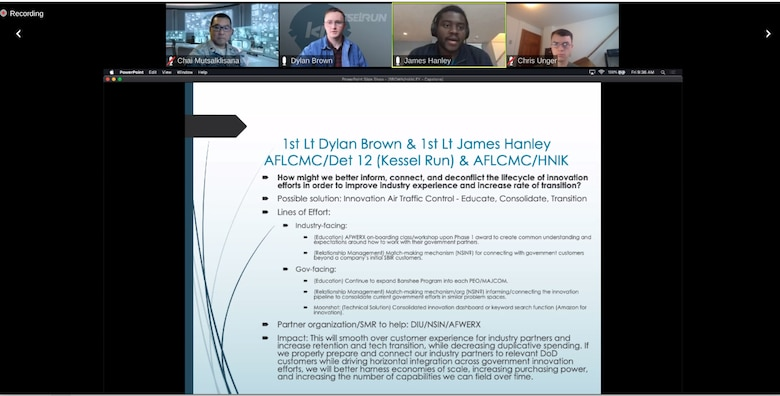 Banshee trainees, First Lt. Dylan Brown (center left) and First Lt. James Hanley (center right), present a joint capstone pitch during the virtual wrap up event for the third Banshee training program cohort Dec. 4.