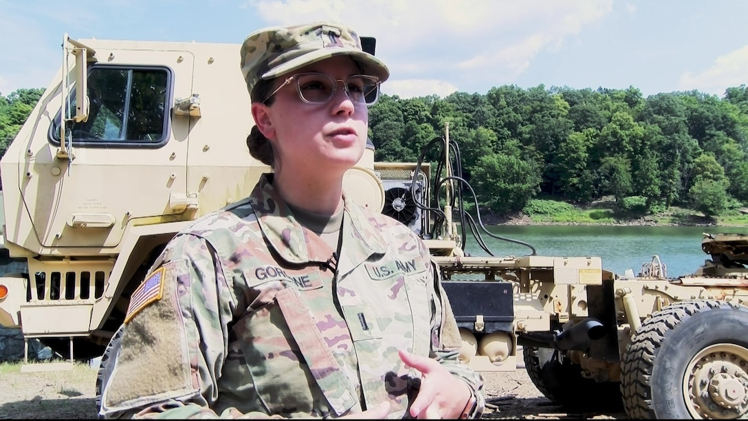 First Lt. Kaitlyn Gorgone of the 14th Quartermaster Company, 316th Sustainment Command (Expeditionary