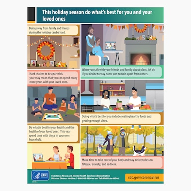 This year's holiday season comes with many unique challenges.  Safeguarding ourselves and the community from COVID-19 has been a marathon and will continue into 2021.  (Courtesy graphic from cdc.gov/coronavirus)