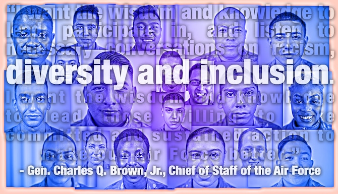 "many portraits are arranged behind a quote from Gen. Charles Q. Brown, Jr.: ""I want the wisdom and knowledge to lead, participate in and listen to necessary conversations on racism, diversity and inclusion. I want the wisdom and knowledge to lead those willing to take committed and sustained action to make our Air Force better."""