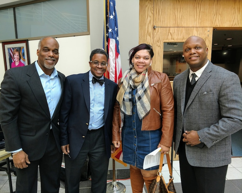 (Right) Master Sgt. Robert Perry, 175th Force Support Squadron training manager, stands next to members of the Prince William County NAACP, Economic Development Committee Mar. 23, 2019, during the annual Financial Literacy Symposium in Woodbridge, Va.