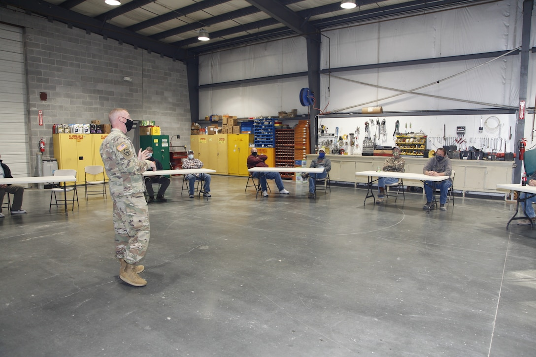 Col. Bill Hannan, commander, Kansas City District, USACE, addressed the team during the awards presentations at the Missouri River Area Office in Napoleon, Mo. Significant overtime including weekend work went into the district response to Missouri River areas of concern. Whether providing surveys from a work boat, moving and dropping rock to repair river structures or providing all the support needed to make those efforts along with contracted efforts work to mitigate the channel restrictions experienced by our commercial navigation partners, this team worked hard from July to the end of November 2020. Photo by Jennie Wilson, Visual Information Specialist, Kansas City District, USACE.