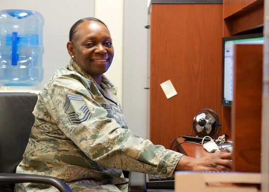 Chief Master Sgt. Sonja Williams poses for a photo