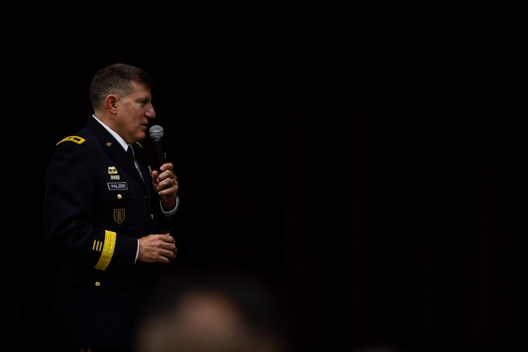 U.S. Army Reserve Maj. Gen. Mark W. Palzer, commanding general of the 99th Readiness Division, speaks to a crowd during the promotion ceremony of Brig. Gen. Kevin Meisler during a ceremony held at Joint Base San Antonio-Fort Sam Houston Dec. 5, 2020.