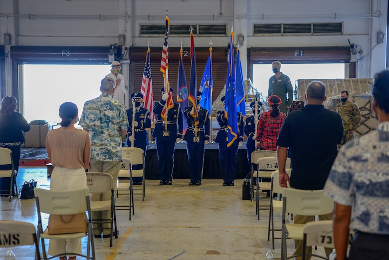 "Members of the 36th Wing base honor guard present the colors at the Operation Christmas Drop ""Push"" Ceremony at Andersen Air Force Base, Guam, Dec. 7, 2020."