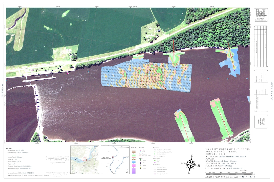 Digital representation of a river survey completed in Pool 17 of the Mississippi River.