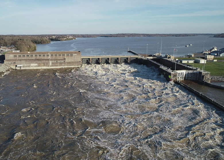 This is Old Hickory Dam and Lake in Old Hickory, Tennessee, during a high-water event March 11, 2019. The U.S. Army Corps of Engineers Nashville District announces that the Great Lakes and Ohio River Division in Cincinnati, Ohio, has approved the Old Hickory Lake Shoreline Management Plan. (USACE Photo by Mark Rankin)