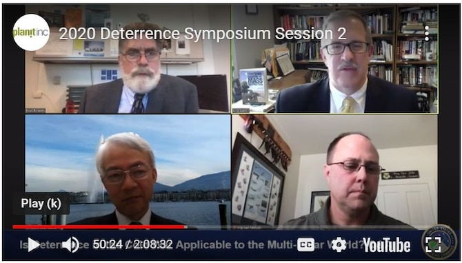 "Al Mauroni (top right), director of the Air Force Center for Strategic Deterrence Studies at Air University, provided his perspective on deterrence education during the U.S. Strategic Command Deterrence Symposium held virtually in November. Mauroni took part in the session titled ""Is Deterrence in the Cold War Applicable to the Multi-polar World."""