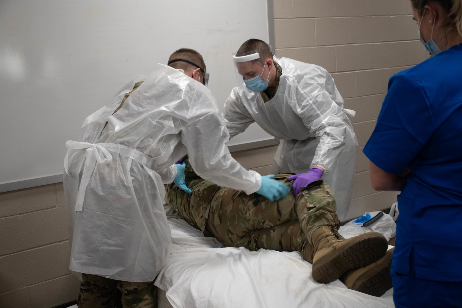 Soldiers and Airmen from the Minnesota National Guard participated in temporary nurse's aide training at Camp Ripley, Minnesota, on Dec. 3, 2020, to prepare for a mission to assist at long-term care facilities as part of the state's COVID-19 response.