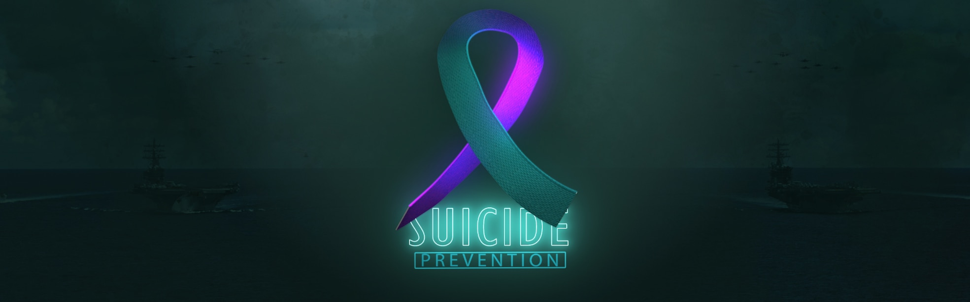 "Teal and purple 3-D ribbon superimposed over the words ""Suicide Prevention"""
