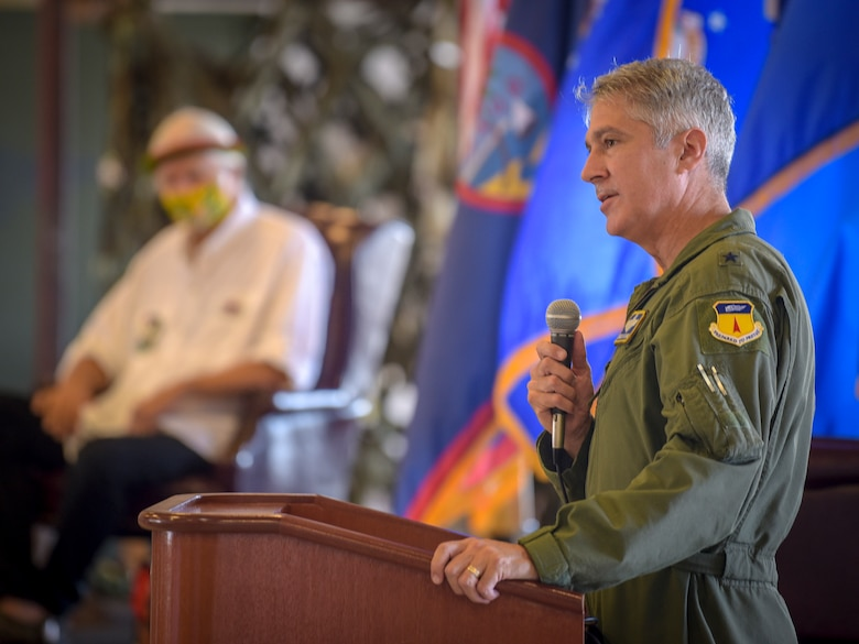 """Brig. Gen. Jeremy Sloane, 36th Wing commander, speaks at the Operation Christmas Drop """"Push"""" Ceremony at Andersen Air Force Base, Guam, Dec. 7, 2020."""