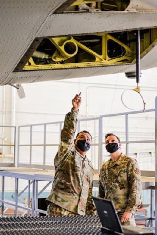 Members of the 150th Maintenance Group conduct an inspection during the November drill.
