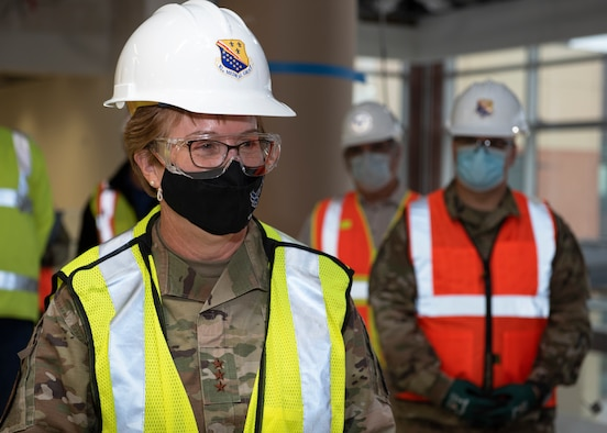 Lt. Gen. Dorothy Hogg, Air Force Surgeon General, tours the construction of the new medical facility at Sheppard Air Force Base, Texas, Dec. 2, 2020. The new treatment facility will help the 82nd Medical Group stay on the cutting edge of medical care and allow Sheppard AFB beneficiaries to continue to receive the best medical care and be ready for anything in the years to come.(U.S. Air Force photo by Senior Airman Pedro Tenorio)