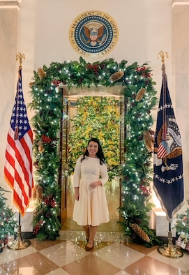 After Brittany Hollander, the wife of Tech. Sgt. Kevin Hollander, a 311th Recruiting Squadron enlisted accessions recruiter, helped decorate the White House for Christmas, she attended a reception there Nov. 30, 2020.
