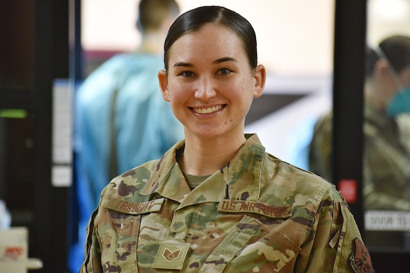 Sgt. Whitney Rabbitt, 341st Operational Medical Readiness Squadron NCO in charge of community health, poses for a photo Dec. 3, 2020, at Malmstrom Air Force Base, Mont. Rabbitt and her team are responsible for testing military personnel for COVID-19 and conducting interviews for contact tracing. (U.S. Air Force photo by Senior Airman Daniel Brosam)