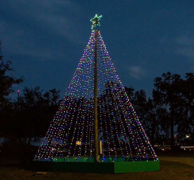 A Christmas tree is on display during Keesler's annual Christmas in the Park drive-thru celebration at Marina Park at Keesler Air Force Base, Mississippi, Dec. 4, 2020. The celebration, hosted by Outdoor Recreation, included light displays, hot chocolate and letters to Santa. (U.S. Air Force photo by Andre' Askew)