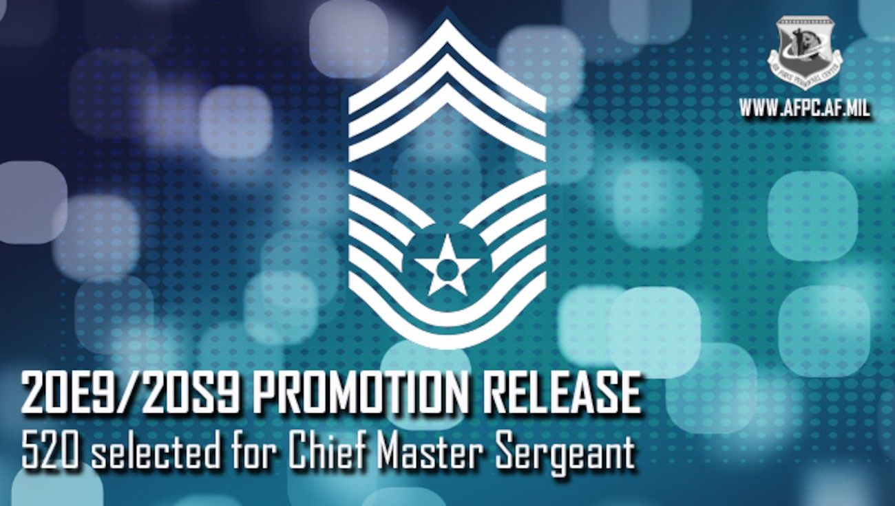 Blue Graphic with Chief Master Sergeant stripes, announcing the promotion release