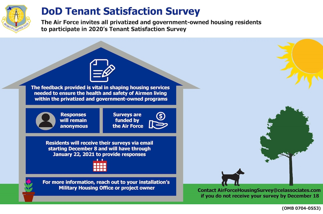 The Air Force invites all privatized and government-owned housing residents to participate in the 2020 Tenant Satisfaction Survey.