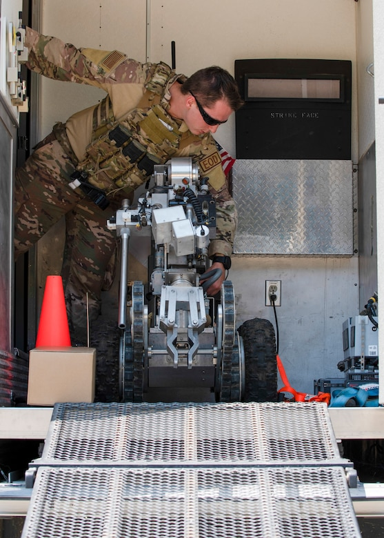 Airman First Class Stephan Jesmer, 4th Civil Engineer Squadron Explosive Ordnance Disposal technician, prepares the Remotec Andros F6 robot for an improvised explosive device exercise at Seymour Johnson Air Force Base, North Carolina, August 26, 2020.