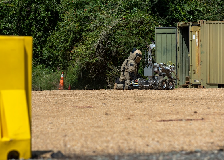 Staff Sgt. Adam Wasson, 4th Civil Engineer Squadron Explosive Ordnance Disposal journeyman, operates an x-ray during an improvised explosive device training exercise at Seymour Johnson Air Force Base, North Carolina, Aug. 26, 2020.