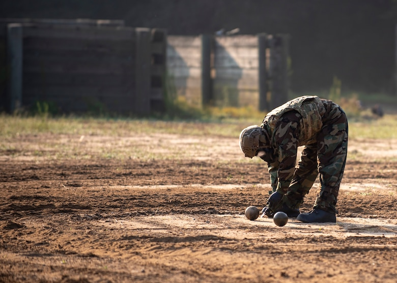 Staff Sgt. Ross Dagerstrom, 4th Civil Engineer Squadron Explosive Ordnance Disposal apprentice, conducts a test during a chemical operation training exercise at Seymour Johnson Air Force Base, North Carolina, August 27, 2020.