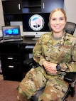 Senior Airman Nicole Ligeza is partnered with Weber-Morgan County as she teleworks from her home office contacting people after they receive a positive COVID-19 test.
