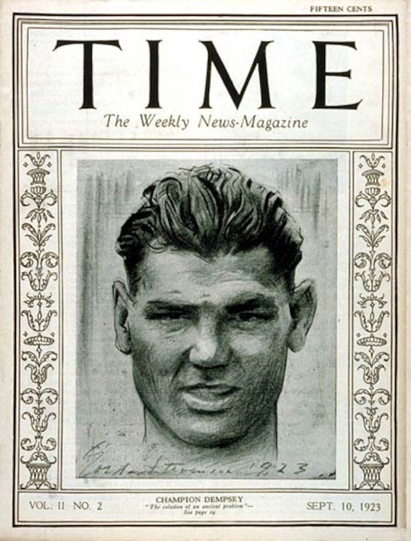 "The cover of Time magazine shows a drawing of a man; the words ""Champion Dempsey"" are written beneath the drawing."