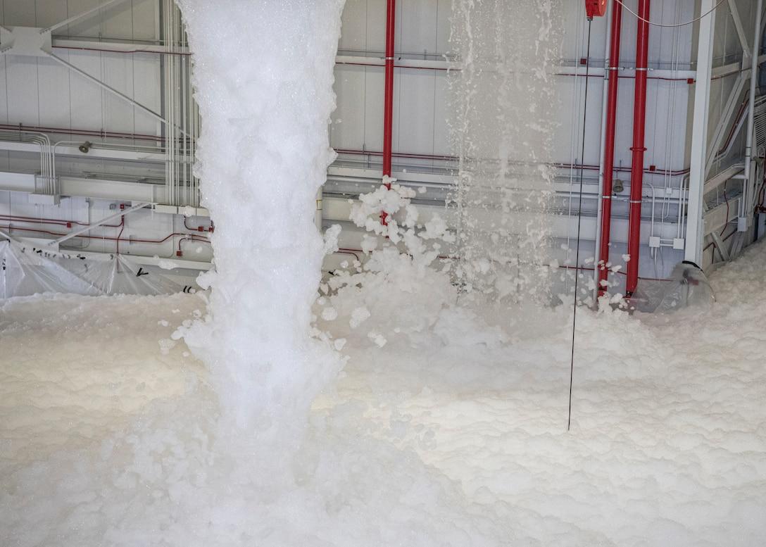 Photo of foam filling the inside of a hangar