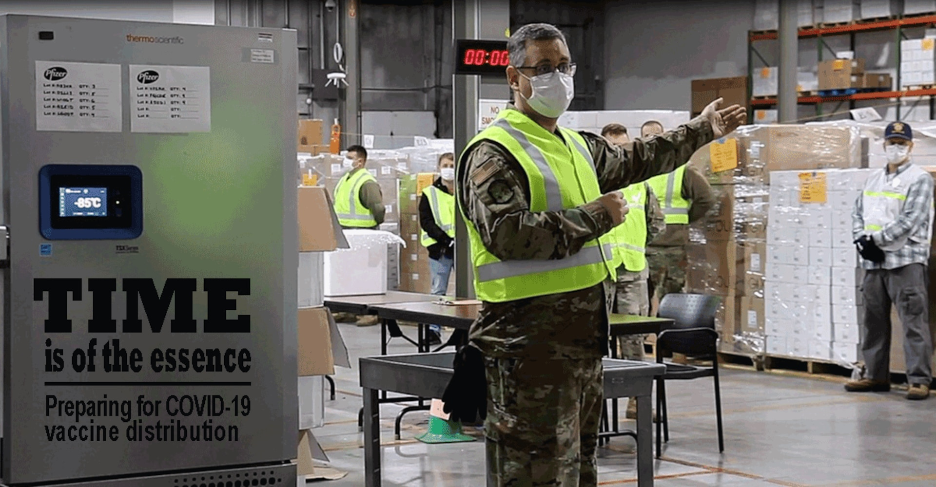 Ohio Air National Guard Senior Master Sgt. Gregory Sprowls explains the process of receiving and repacking COVID-19 vaccines. Sprowls, an air transportation specialist with the 121st Air Refueling Wing in Columbus, Ohio, said his military skills have helped in working with partners from the Ohio Department of Health to develop the logistics plan for the vaccines the state will soon have at its Receive, Store and Stage warehouse.