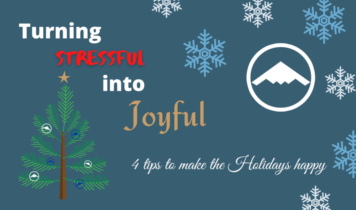 """Many of us have dreams of our """"perfect"""" holiday season.  Unfortunately, reality doesn't always add up to what our vision is. This can result in stress that hijacks joy and happiness from you. Remembering some simply tips can keep you from being the victim of a """"happy holiday hijacking."""" (U.S. Air Force graphic by Tech. Sgt. Alexander W. Riedel)"""