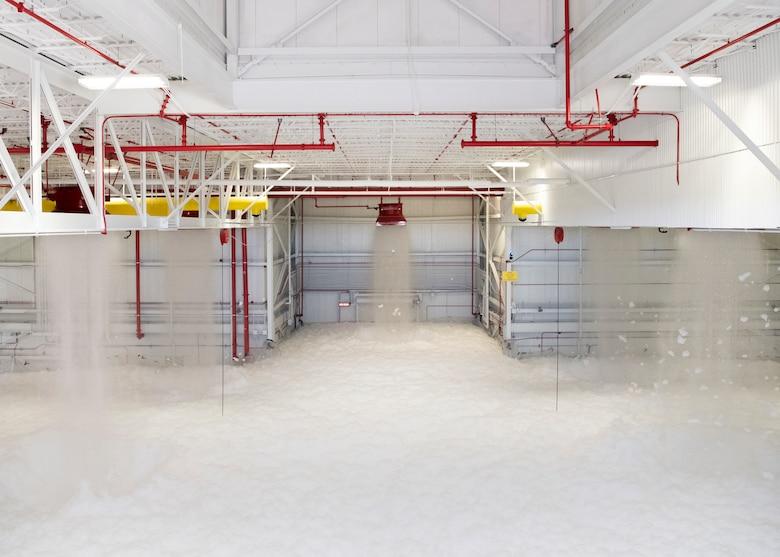 Photo of foam filling the inside of a hanger