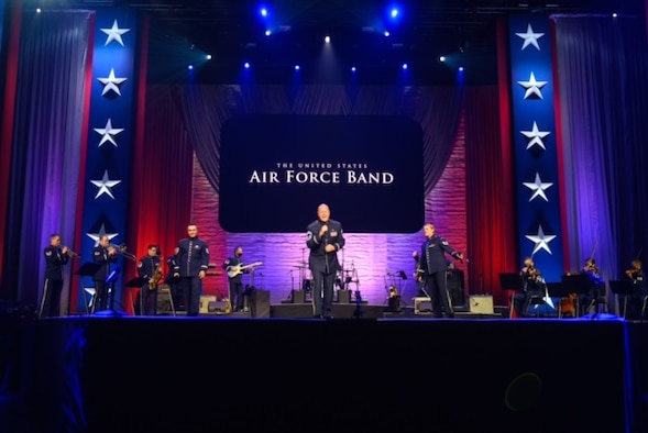 Members of Max Impact, the Concert Band and the Air Force Strings perform on the live virtual Veteran's Day Concert at the MGM Hotel.