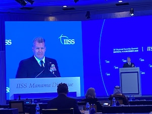 Vice Adm. Samuel Paparo, commander of U.S. Naval Forces Central Command (NAVCENT), U.S. 5th Fleet and Combined Maritime Forces (CMF), participated in the 16th Regional Security Summit of the International Institute of Strategic Studies (IISS) Manama Dialogue 2020, Dec. 4-6. The IISS Manama Dialogue takes place in Bahrain annually, offering international representatives an opportunity to discuss policies, security concerns and challenges in the Middle East.