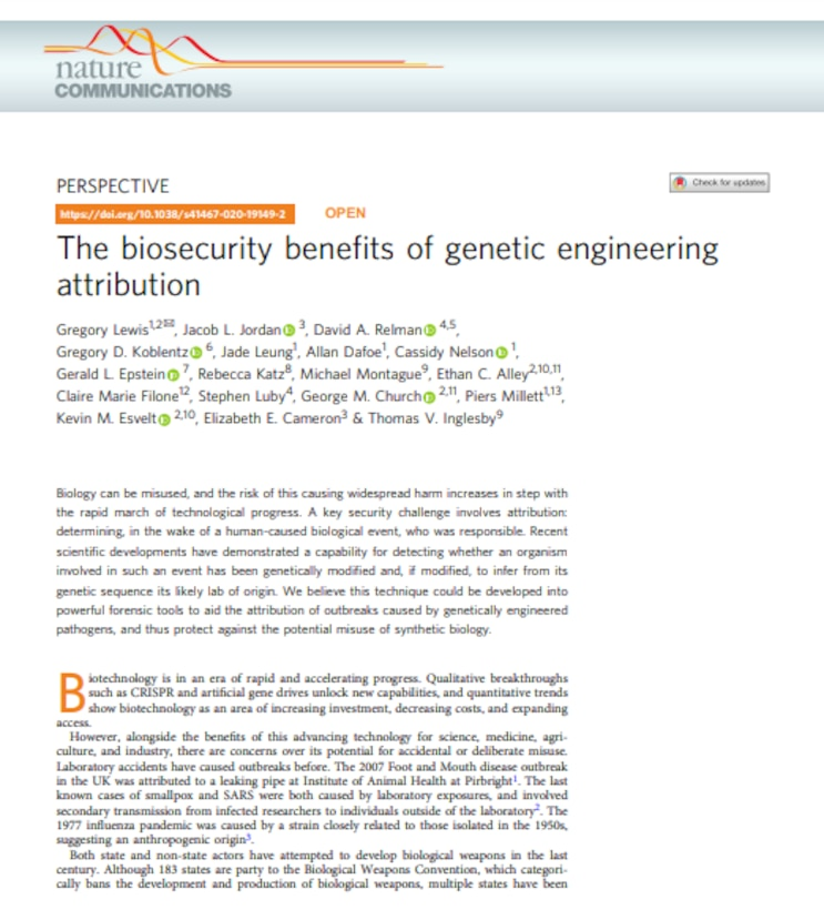 The biosecurity benefits of genetic engineering attribution