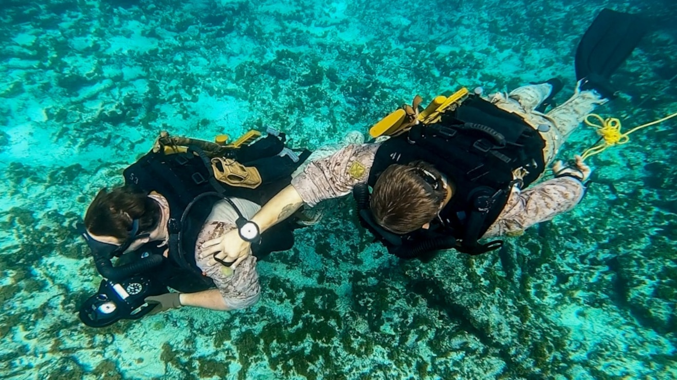 U.S. Marine Corps Staff Sgt. Joseph Deblaay, left, and Sgt. Joseph Singletary, both reconnaissance Marines with C Company, 2d Reconnaissance Battalion (Recon Bn.), 2d Marine Division (MARDIV), participate in a dive training alongside Netherlands Marines with the 32nd Raiding Squadron near Netherlands Marine Barracks Savaneta, Aruba, Nov. 20, 2020. These dive skills are critical when fighting in littoral and coastal regions. 2d Recon Bn's mastery of these skills is paramount so they can integrate effectively with their naval counterparts to win the next major conflict. Being able to learn from the Dutch Marines in their primary area of operation helps 2d Recon Bn. build a faster, more mobile, and more lethal force when operating in diverse locations.(U.S. Marine Corps photo by Lance Cpl. Brian Bolin Jr.)