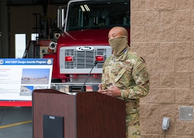 Col. Randel Gordon, 412th Test Wing Vice Commander, provides his statements during a ribbon-cutting ceremony for the Airfield Fire Station at Edwards Air Force Base, California, Dec. 8. (Air Force photo by Giancarlo Casem)
